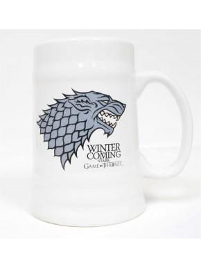 Jarra de Cerveza Stark Ceramica Blanca Juego de Tronos