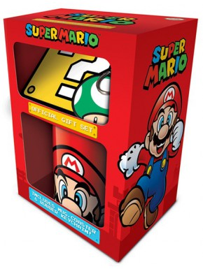 Pack regalo Super Mario Taza + Llavero + Posavasos