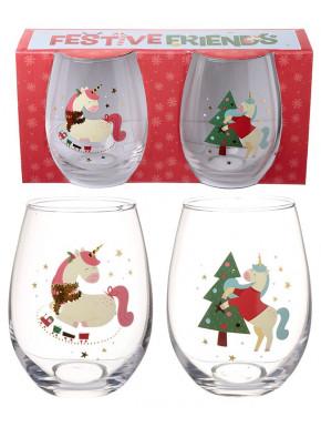 Set 2 Vasos cristal Unicornio