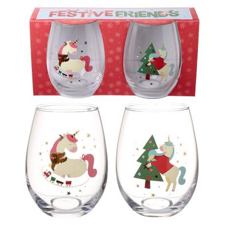 Set 2 vasos cristal unicornio navide o solo 12 90 - Vasos grandes cristal ...