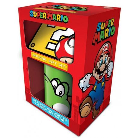 Pack regalo Super Mario Yoshi Taza + Llavero + Posavasos