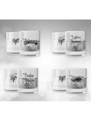 Set cuatro vasos cristal Harry Potter Hechizos