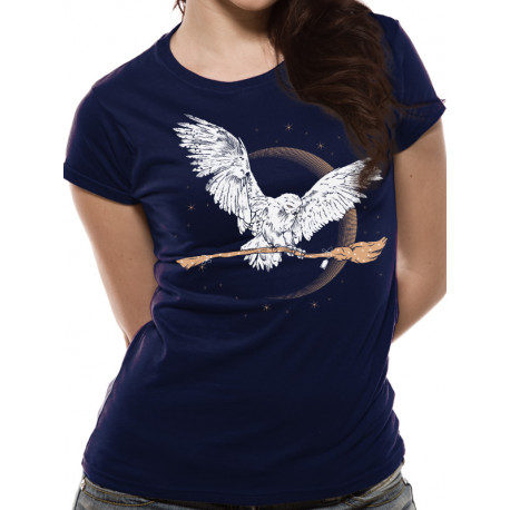 Camiseta Chica Hedwig con Escoba Harry Potter