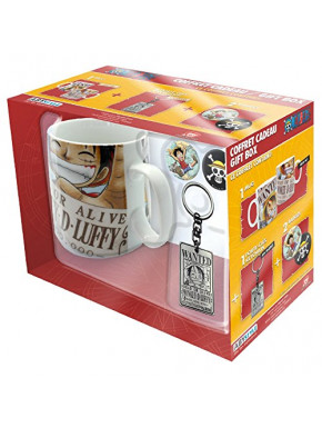 Pack regalo One Piece Taza + Llavero + Chapas Luffy