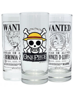 Set tres vasos cristal One Piece