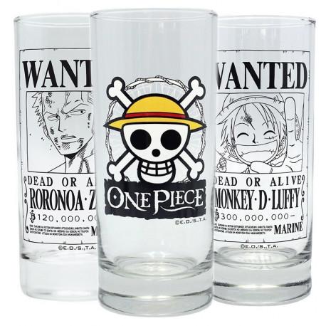 Set tres vasos cristal One Piece