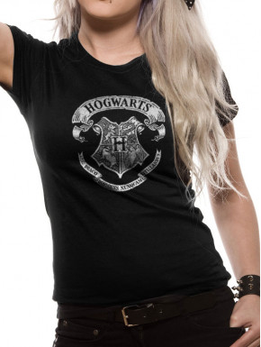 Camiseta Chica Hogwarts Harry Potter Crest Black