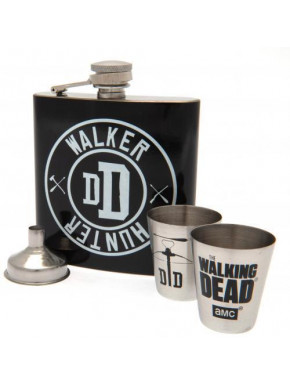 Set Petaca y Vasos Walking Dead Deluxe Walker Hunter