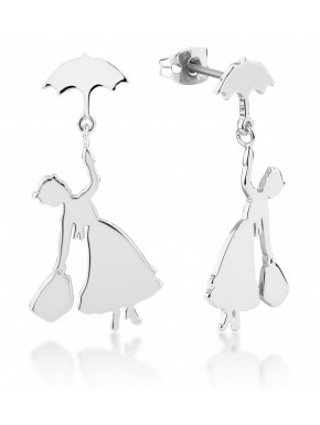 Pendientes Oro Blanco Silueta Mary Poppins Disney