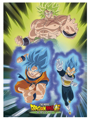 Póster Broly vs Goku & Vegeta Dragon Ball