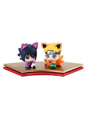 Set de 2 Minifiguras Naruto y Sasuke Maneki-Kyubi Petit Chara