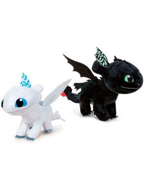 Set Peluches Desdentado y Furia Luminosa Cómo entrenar a tu Dragón 40 cm