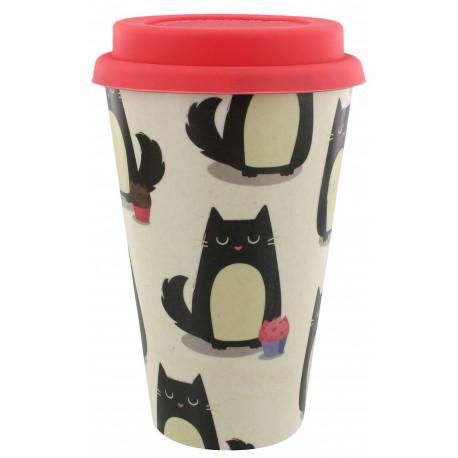 Taza de viaje Bambú Gato Feline Fine
