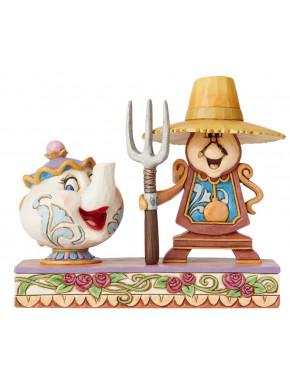 Figura Disney Señora Potts & Ding Dong La Bella y La Bestia Jim Shore