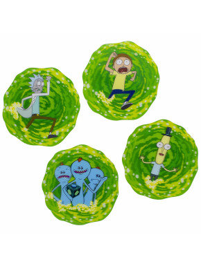 Set 4 posavasos 3D Rick y Morty Portal