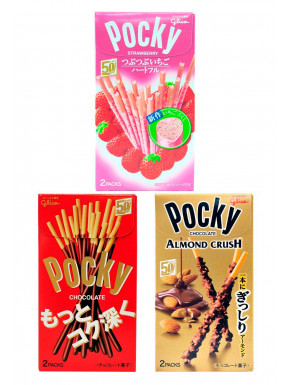 Pack 3 Pocky Sabor Fresa, Chocolate y Chocolate Almond Crush