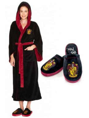 Pack Albornoz Chica y Zapatillas Harry Potter Gryffindor