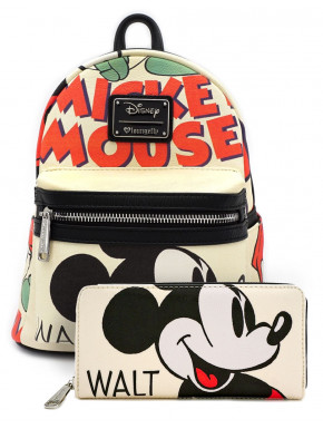 Pack Bolso Mochila y Cartera Billetera Mickey Mouse Classic Loungefly