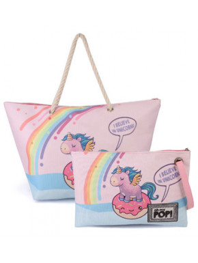 Pack Bolso Playa y Neceser OH MY POP Unicornios
