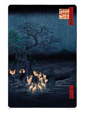 Póster New Years Eve Foxfire by Utagawa Hiroshige
