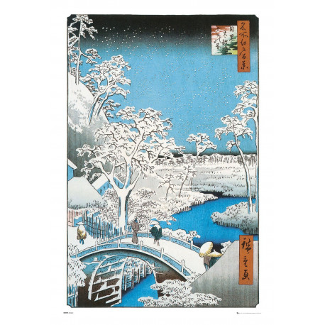 Póster The Drum Bridge by Utagawa Hiroshige
