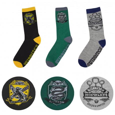 Set 3 pares de calcetines Harry Potter Quidditch Hogwarts