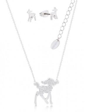 Pack colgante y pendientes oro blanco Bambi