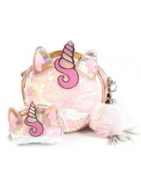 Pack cartera y bolso redondo OH MY POP Unicornio Lentejuelas