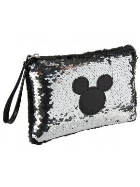Bolso Pouch Mickey Disney Lentejuelas  Plateado
