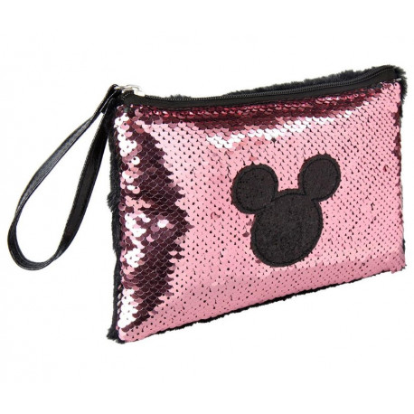 Bolso Pouch Mickey Disney Lentejuelas Rosa