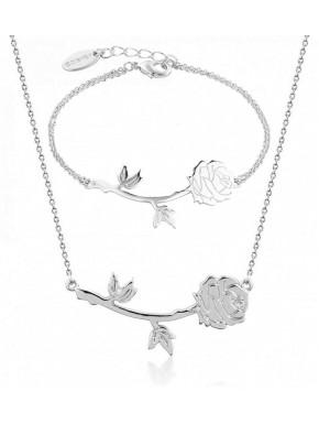 Pack colgante y pulsera Rosa encantada oro blanco La Bella y La Bestia