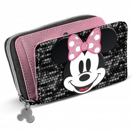 Cartera Billetera Minnie Mouse Lentejuelas Disney