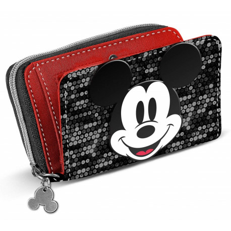 Cartera Billetera Mickey Mouse Lentejuelas Disney