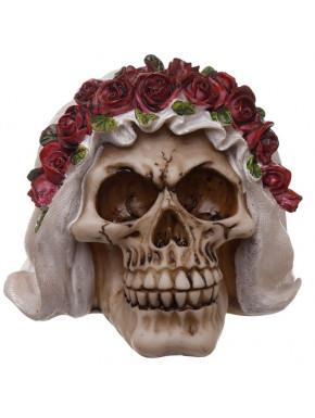 Figura Calavera Novia con Velo y Rosas
