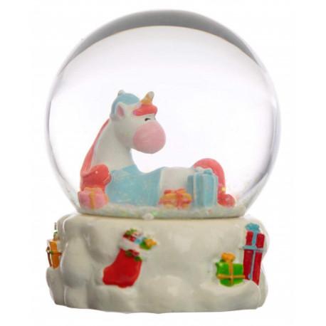 Bola de Nieve Unicornio Navidad