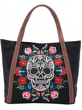 Bolso negro con Calavera y flores bordadas Loungefly