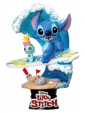 Figura Diorama Stitch surfeando Disney
