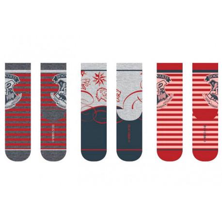 Set 3 pares de calcetines Harry Potter Hogwarts Rojos