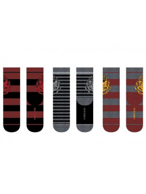 Set 3 pares de calcetines Harry Potter Hogwarts Rayas