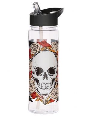 Botella Calaveras y Rosas Bandera