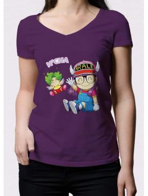 Camiseta Lila Chica Arale y Gatchan Doctor Slump