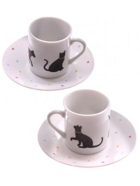 Set de 2 Tazas y Platos I Love My Cat