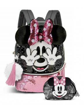 Pack  mochila y cartera Minnie lentejuelas