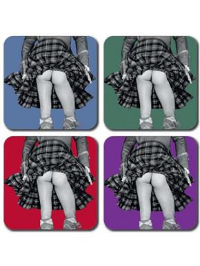 Set Posavasos Falda Escocesa