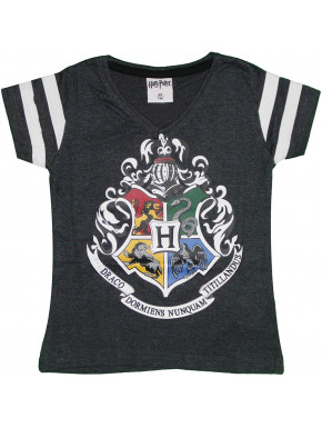 Camiseta Niña Harry Potter Hogwarts Negra