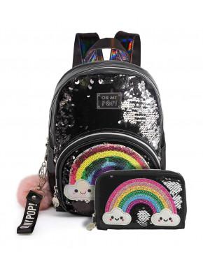 Pack Bolso mochila y billetera Oh My Pop! Arcoiris Kawaii