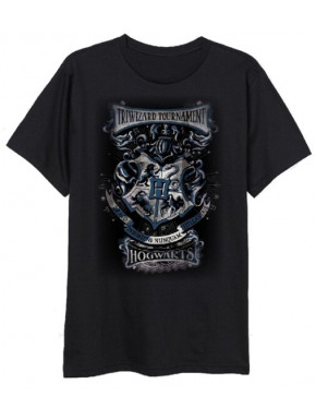 Camiseta Harry Potter Escudo Hogwarts Negra