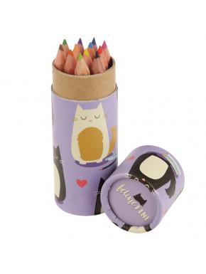 Tubo con Lápices de Colores - Gato Feline Fine