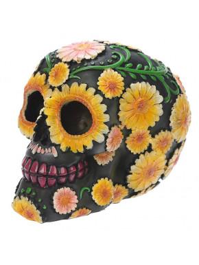 Figura Calavera - Calavera Día de los Muertos con Margaritas