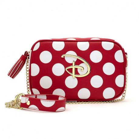LF Red/Wht Polka Dot Disney Logo Cross Body Bag